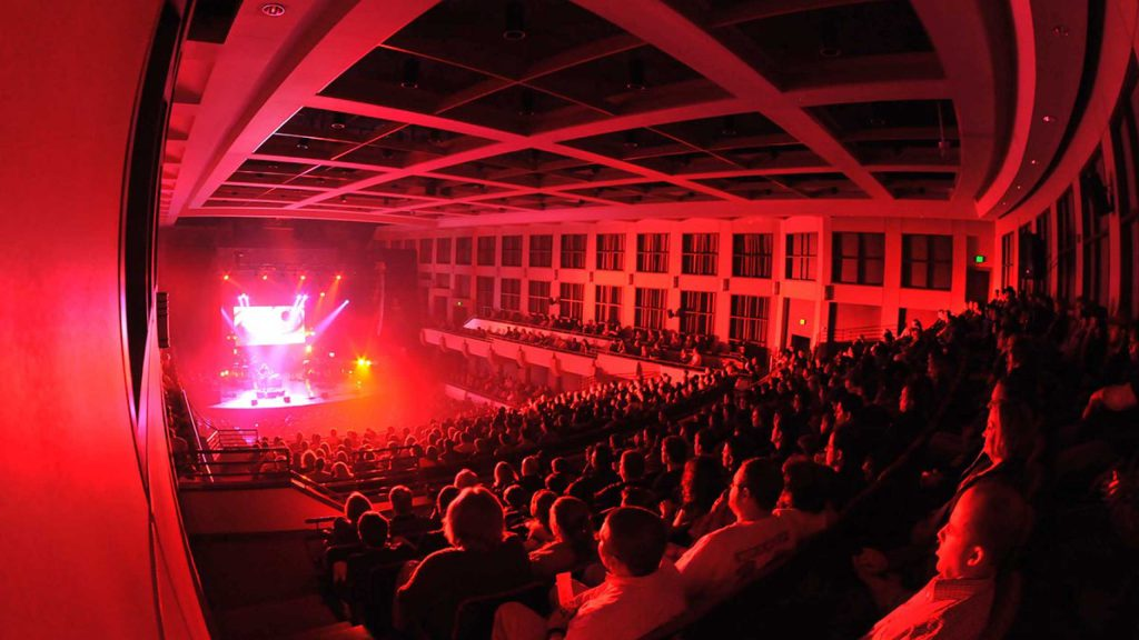 Concert with red stage lighting