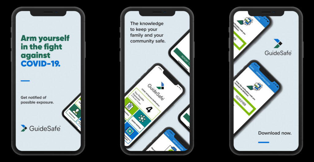 Three phones with guidesafe app